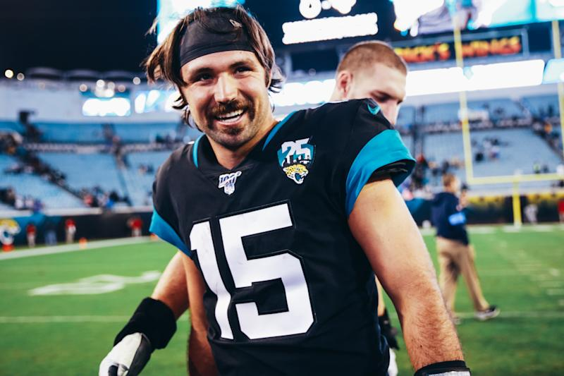 JACKSONVILLE, FLORIDA - DECEMBER 08: Gardner Minshew II of the Jacksonville Jaguars leaves the field after a loss to the Los Angeles Chargers at TIAA Bank Field on December 08, 2019 in Jacksonville, Florida. (Photo by Harry Aaron/Getty Images)