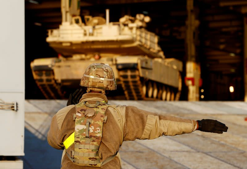 FILE PHOTO: U.S. Army Abrams tank leaves ship during operation Atlantic Resolve rotation in Riga port