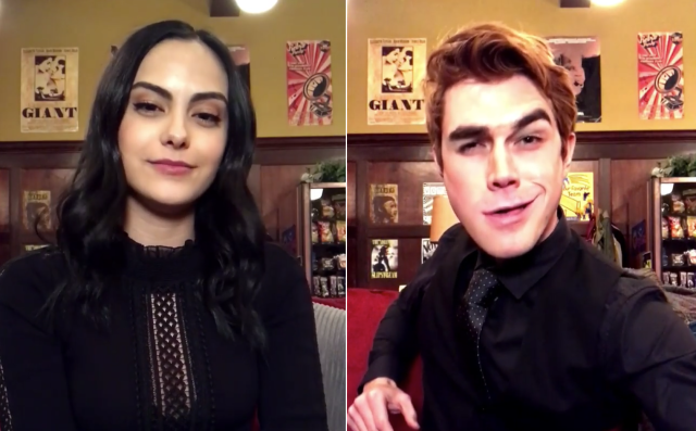 "<em>Riverdale</em> stars Camila Mendes and KJ Apa take part in the viral challenge. (Photo: <a href=""https://www.instagram.com/p/Bf1Ye9MFim8/?taken-by=netflix"" rel=""nofollow noopener"" target=""_blank"" data-ylk=""slk:Instagram/Netflix"" class=""link rapid-noclick-resp"">Instagram/Netflix</a>)"