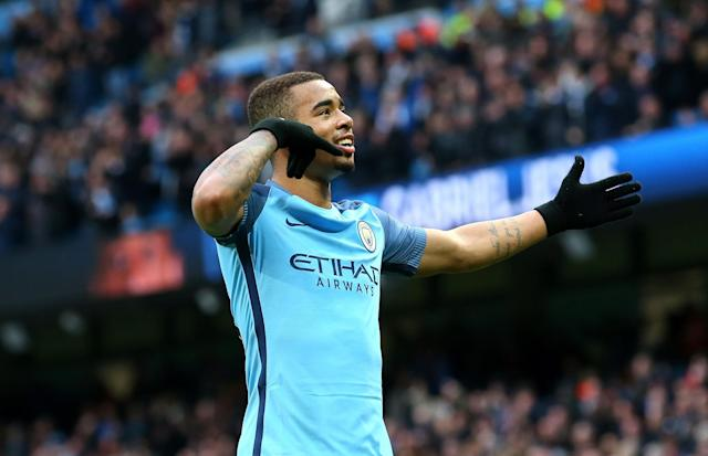 <p>Gabriel Jesus of Manchester City celebrates scoring his sides second goal during the Premier League match between Manchester City and Swansea City at Etihad Stadium on February 5, 2017 in Manchester, England. </p>