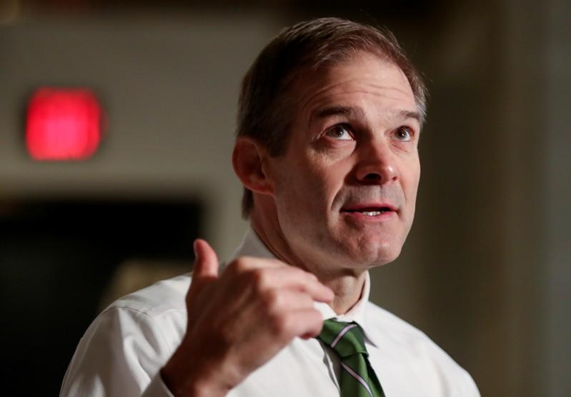U.S. Rep. Jim Jordan speaks to reporters during House impeachment inquiry on Capitol Hill in Washington