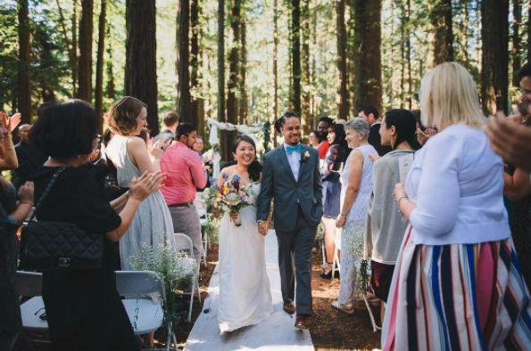 """Lisa and Jared amongst the beautiful redwoods of the Oakland hills."" -- <i>Trung Hoang</i>"