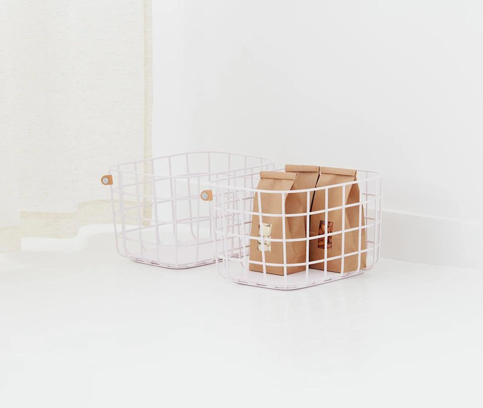 <p>I have the <span>Open Space Medium Baskets, set of two</span> ($56) and love using them on my entryway rack or in the kitchen.</p>