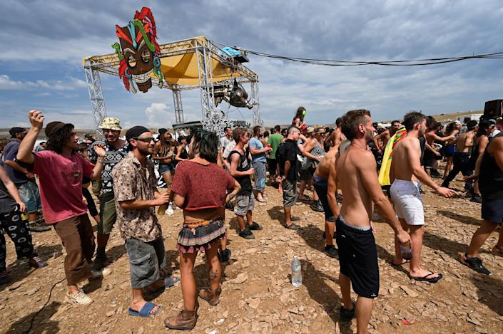 As many as 10,000 people attended a rave in the Cevennes National Park in southern France, Aug. 10. (Photo: PASCAL GUYOT via Getty Images)