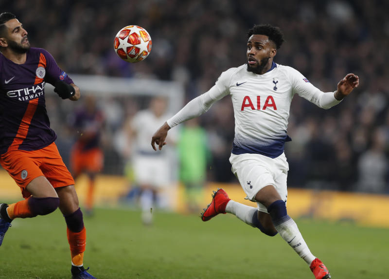 Manchester City's Riyad Mahrez, left, challenges for the ball with Tottenham's Danny Rose during the Champions League, round of 8, first-leg soccer match between Tottenham Hotspur and Manchester City at the Tottenham Hotspur stadium in London, Tuesday, April 9, 2019. (AP Photo/Frank Augstein)