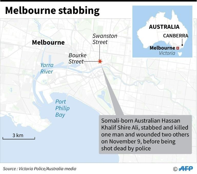 Map of Melbourne locating a fatal stabbing incident on November 9