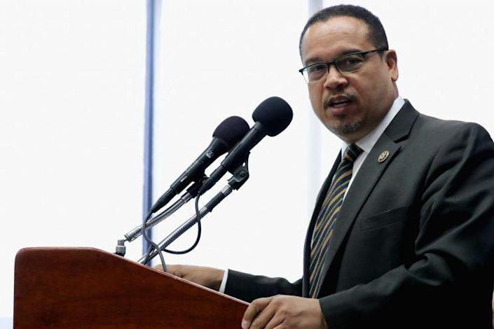 """Rep. Keith Ellison holds a news conference about what he calls """"the rhetoric attacking Muslims and the Islamophobia"""" in the 2016 presidential election. (Photo: Chip Somodevilla/Getty Images)"""