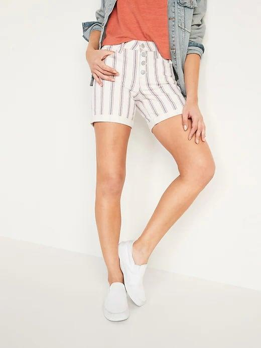 <p>Why not try patterned denim this summer, like a pair of these <span>Old Navy Mid-Rise Button-Fly Multi-Stripe Jean Shorts</span> ($12, originally $30) with a subtle pattern?</p>