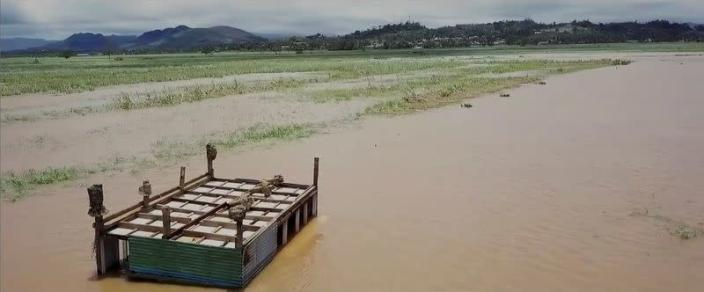 A view shows flooding in the aftermath of Cyclone Yasa in Wailevu, Vanua Levu, Fiji