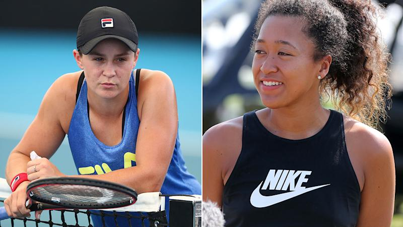 Pictured here, World No.1 Ash Barty (L) and two-time major winner Naomi Osaka.