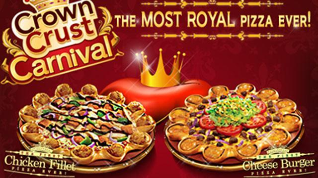 Pizza Hut Middle East's Crown Crust creation, topped with mini cheeseburgers, meat, lettuce, tomatoes and dressing.