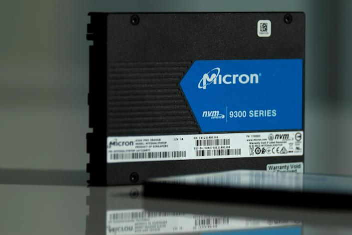 Micron Technology's solid-state drive for data center customers is presented at a product launch event in San Francisco, U.S., October 24, 2019. REUTERS/Stephen Nellis REFILE - CORRECTING TYPE OF THE DRIVE