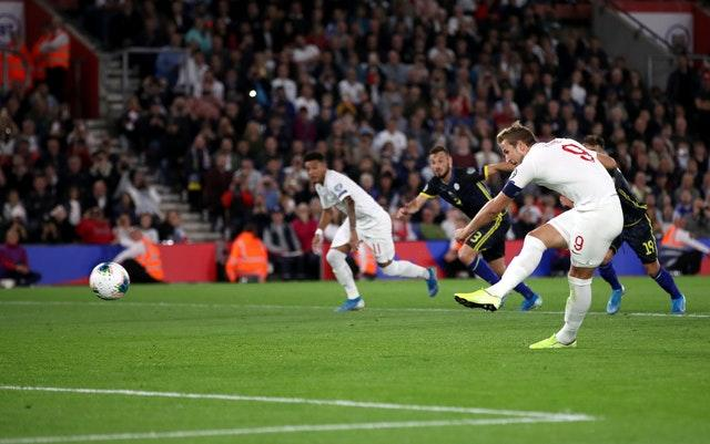 Harry Kane takes a penalty which is saved (Adam Davy/PA)