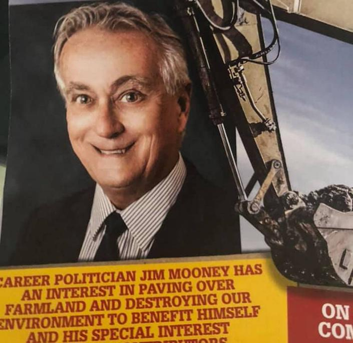A campaign mailer shows the distorted photograph of Jim Mooney, who is running for the District 120 Florida House representative seat. This and other mailers were sent to voters in the district, which includes some of south Miami-Dade County and all of the Florida Keys, the week of Aug. 7, 2020.