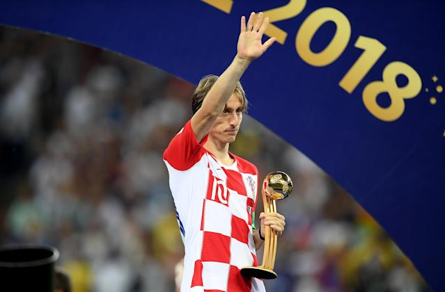 Luka Modric of Croatia poses with his Golden Ball award after the 2018 FIFA World Cup Final between France and Croatia at Luzhniki Stadium on July 15, 2018 in Moscow, Russia. (Getty Images)
