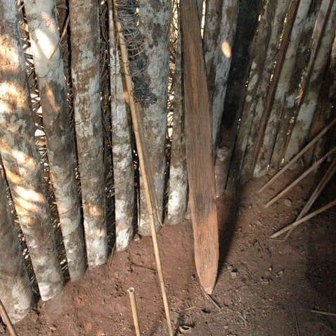 A stake and resin torch found by FUNAI workers near the man in the hole's hut - Credit: Fiona Waston