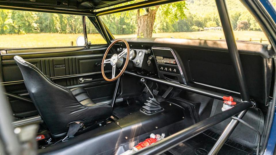 The race-focused cockpit of the 1967 Chevrolet Camaro Z/28 Trans Am crossing the block in Monterey. - Credit: Photo by Dynamic Photowerks LLC., courtesy of Gooding & Company.