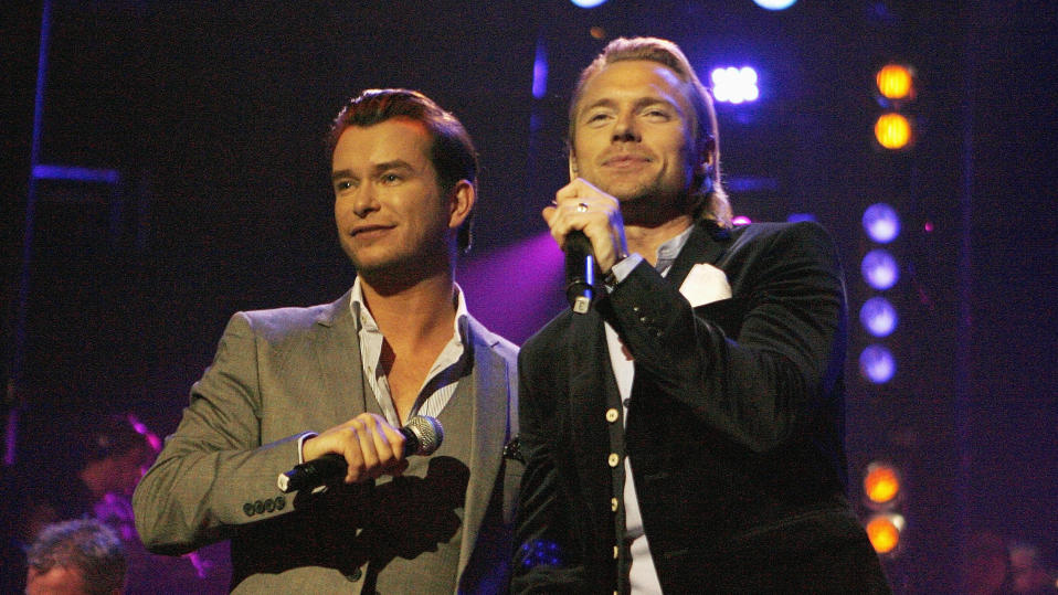 Stephen Gately performs with Ronan Keating at the BBC Electric Proms in 2008. (PA/Getty)