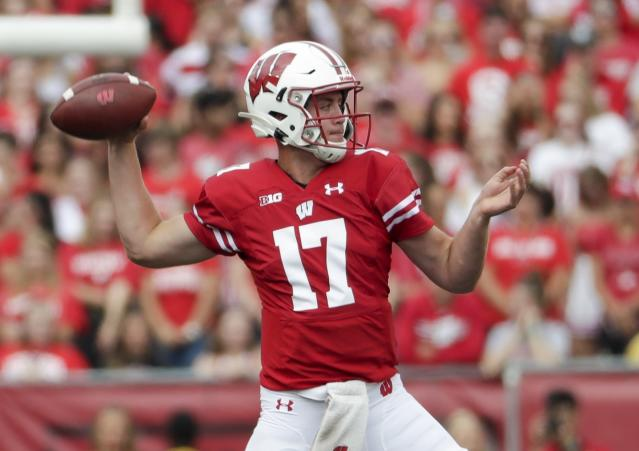 Wisconsin's Jack Coan throws during the first half of an NCAA college football game against Central Michigan Saturday, Sept. 7, 2019, in Madison, Wis. (AP Photo/Morry Gash)