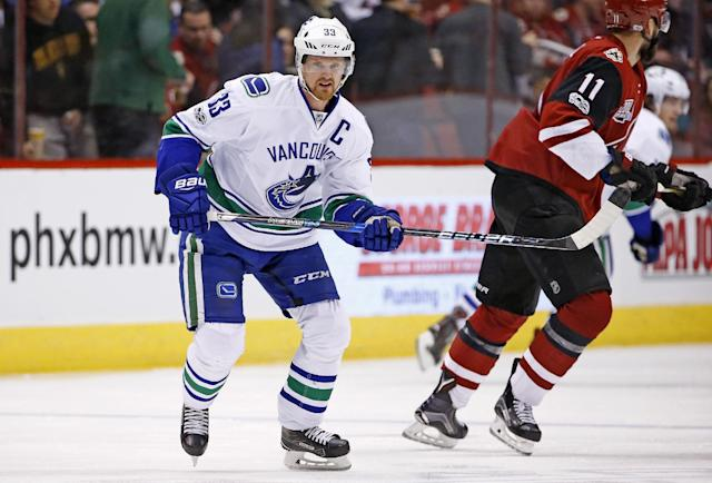 <p>Henrik Sedin's streak of 679 consecutive games played was halted in January, 2014 when he was unable to dress due to an injury. Sedin is currently captain of the Canucks and has spent his whole career in Vancouver, posting 1,015 points in more than 1,200 games. </p>
