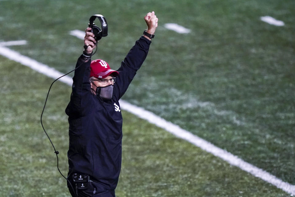 Indiana Hoosiers head coach Tom Allen celebrates in the fourth quarter of an NCAA college football game against Rutgers, Saturday, Oct. 31, 2020, in Piscataway, N.J. (AP Photo/Corey Sipkin)