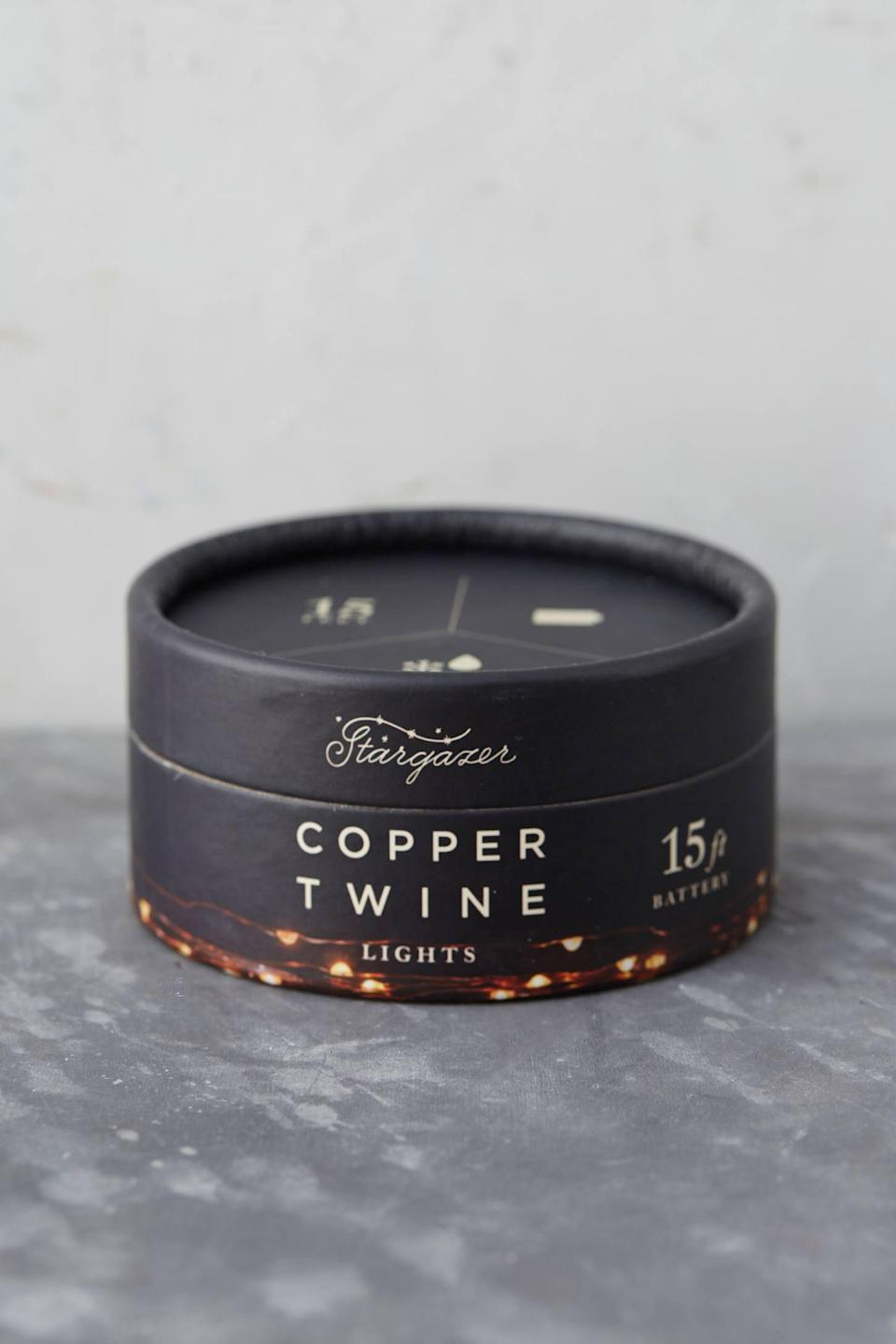 """<p>Illuminate your home with the <a href=""""https://www.popsugar.com/buy/Stargazer-Copper-Twine-Lights-Battery-Powered-490600?p_name=Stargazer%20Copper%20Twine%20Lights%2C%20Battery%20Powered&retailer=anthropologie.com&pid=490600&price=18&evar1=casa%3Aus&evar9=46615300&evar98=https%3A%2F%2Fwww.popsugar.com%2Fhome%2Fphoto-gallery%2F46615300%2Fimage%2F46615472%2FStargazer-Copper-Twine-Lights-Battery-Powered&list1=shopping%2Canthropologie%2Choliday%2Cchristmas%2Cchristmas%20decorations%2Choliday%20decor%2Chome%20shopping&prop13=mobile&pdata=1"""" rel=""""nofollow noopener"""" class=""""link rapid-noclick-resp"""" target=""""_blank"""" data-ylk=""""slk:Stargazer Copper Twine Lights, Battery Powered"""">Stargazer Copper Twine Lights, Battery Powered</a> ($18). </p>"""
