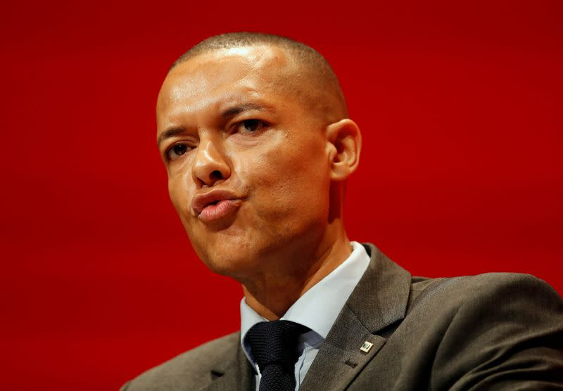 FILE PHOTO: Britain's shadow Defence Secretary, Clive Lewis, speaks during the second day of the Labour Party conference in Liverpool