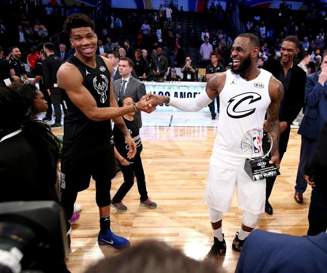 "<a class=""link rapid-noclick-resp"" href=""/nba/players/5185/"" data-ylk=""slk:Giannis Antetokounmpo"">Giannis Antetokounmpo</a> congratulated <a class=""link rapid-noclick-resp"" href=""/nba/players/3704/"" data-ylk=""slk:LeBron James"">LeBron James</a> for winning his third All-Star MVP honor last season. (Getty Images)"