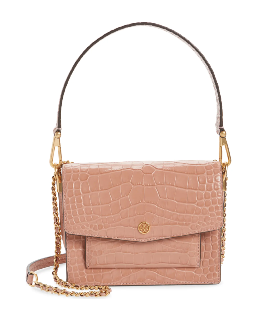 "<br><br><strong>Tory Burch</strong> Robinson Embossed Double Strap Leather Flap Bag, $, available at <a href=""https://go.skimresources.com/?id=30283X879131&url=https%3A%2F%2Ffave.co%2F2J99tp5"" rel=""nofollow noopener"" target=""_blank"" data-ylk=""slk:Nordstrom"" class=""link rapid-noclick-resp"">Nordstrom</a>"