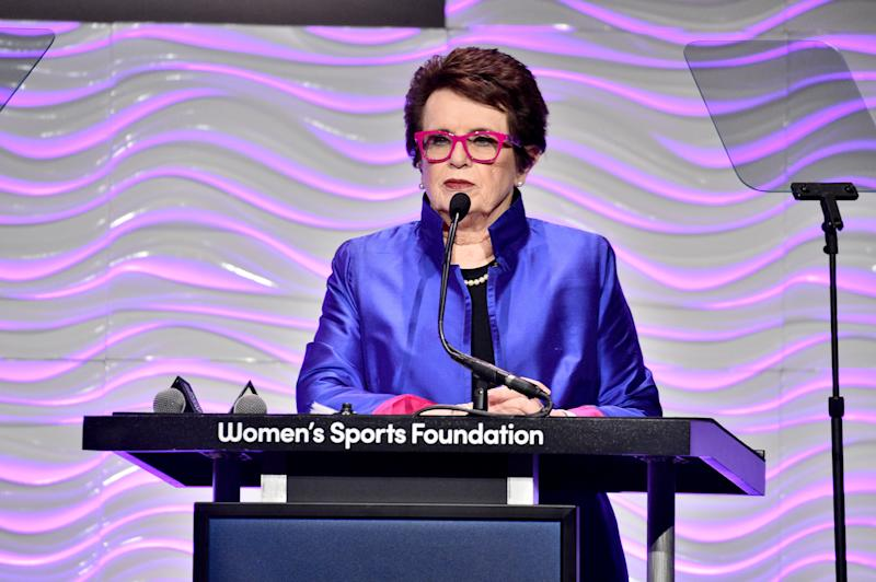 Billie Jean King talks at the podium during The Women in Sports Foundation Salute.