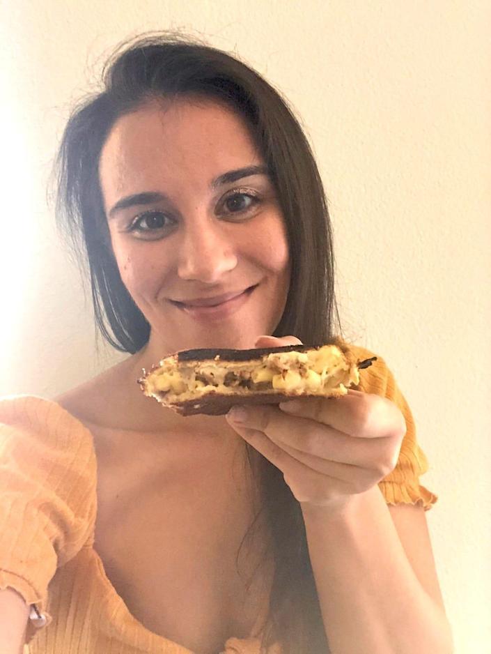Anneta with Guy Fieri's grilled cheese