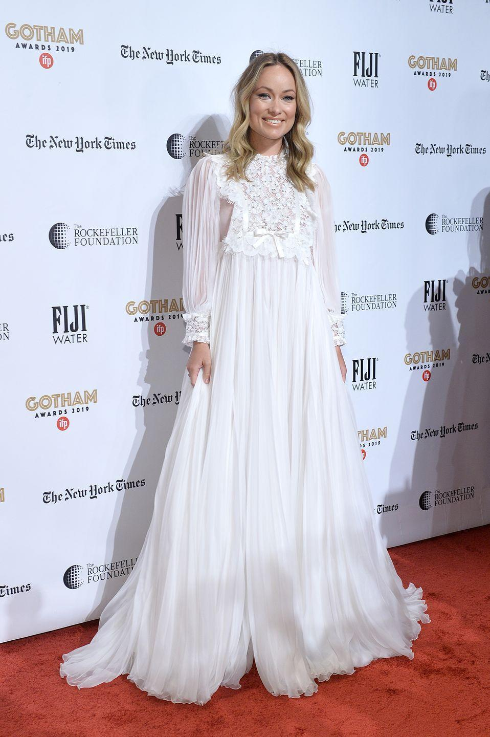 <p>Wilde, who was nominated for the Bingham Ray Breakthrough Director Award at the awards show, wore an ethereal white gown with boho sleeves.<br></p>