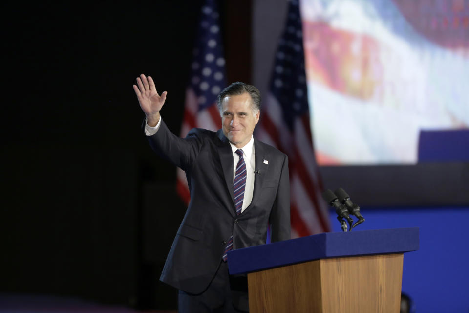 Former Massachusetts Gov. Mitt Romney waved to supporters during his election-night rally, in 2012. (AP/David Goldman)