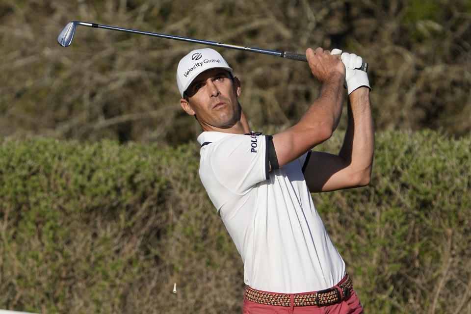 Billy Horschel hits his drive on the 17th tee during the final round of the Dell Technologies Match Play Championship golf tournament Sunday, March 28, 2021, in Austin, Texas. (AP Photo/David J. Phillip)