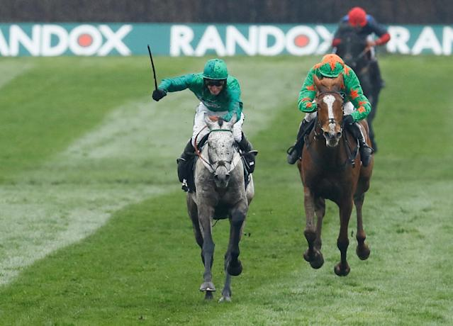 Horse Racing - Grand National Festival - Aintree Racecourse, Liverpool, Britain - April 13, 2018 Terrefort ridden by Daryl Jacob in action before winning the 14:50 Betway Mildmay Novices' Chase Action Images via Reuters/Jason Cairnduff