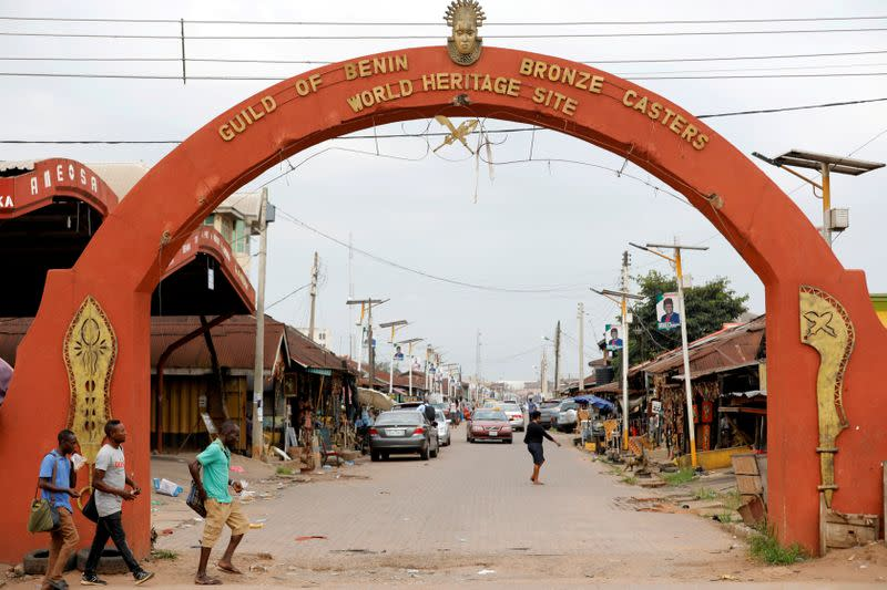 FILE PHOTO: A view showing the entrance to Igun street where bronze works are cast and sold in Benin City