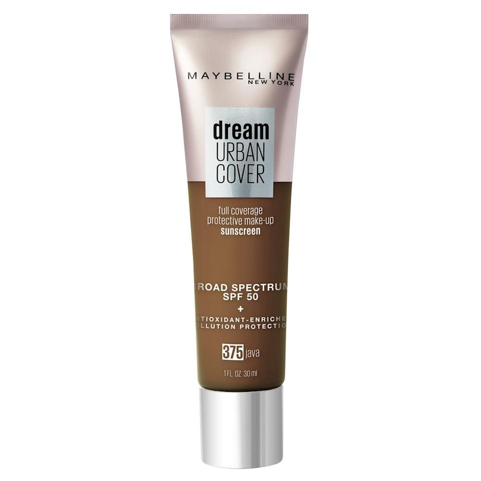 "<p>The hard truth: Along with UVA/UVB rays, pollution can damage your skin, causing premature signs of aging and discoloration. Now that the fearmongering is out of the way, <a href=""https://www.maybelline.com/face-makeup/foundation-makeup/dream-urban-cover-flawless-coverage-foundation-makeup-spf-50/fair-porcelain"" target=""_blank"">Maybelline's newest foundation</a> is formulated with SPF 50 and antioxidants to protect skin on top of providing lightweight medium coverage. It comes in 16 shades. </p>"