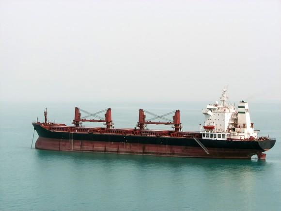 A dry bulk carrier at sea