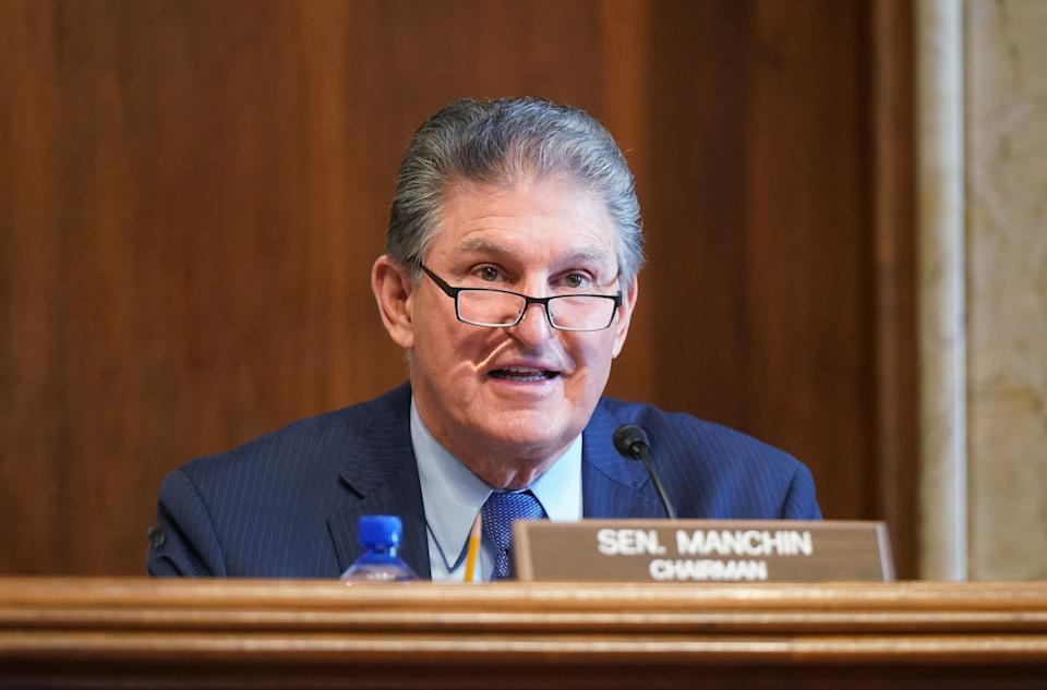 Sen. Joe Manchin (D-W.Va.) backed elements of the For The People Act in a statement issued on March 25. (Photo: Leigh Vogel-Pool via Getty Images)