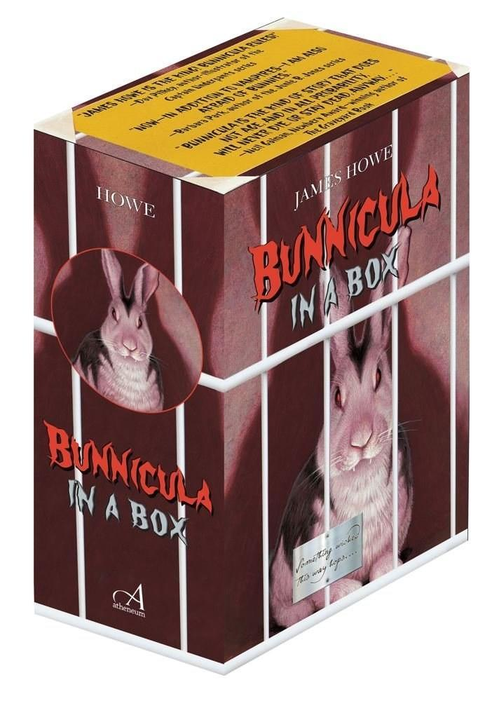 Box set of Bunnicula books, featuring a white rabbit with red eyes on the cover
