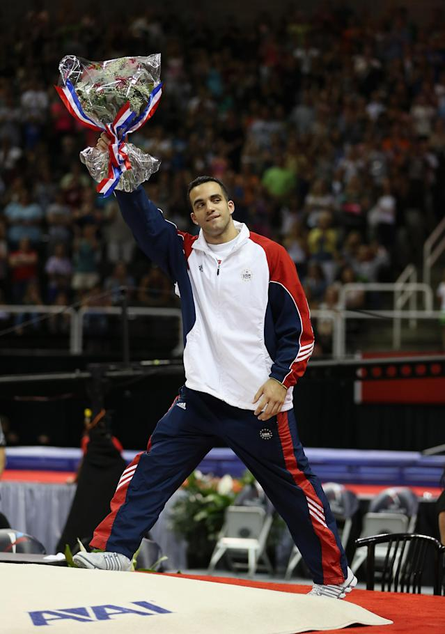 SAN JOSE, CA - JULY 01: Danell Leyva waves to the crowd after being named to the US Gymnastic team going to the 2012 London Olympics at HP Pavilion on July 1, 2012 in San Jose, California. (Photo by Ezra Shaw/Getty Images)