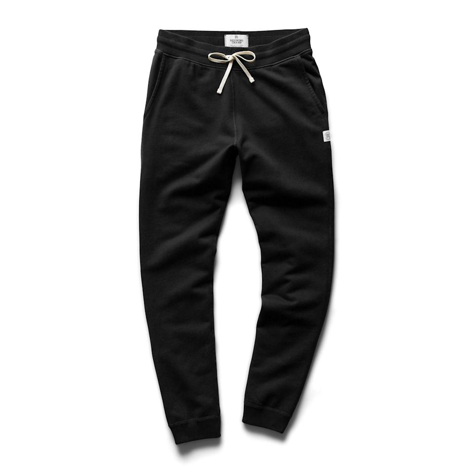"""<p><strong>Reigning Champ</strong></p><p>huckberry.com</p><p><strong>$120.00</strong></p><p><a href=""""https://go.redirectingat.com?id=74968X1596630&url=https%3A%2F%2Fhuckberry.com%2Fstore%2Freigning-champ%2Fcategory%2Fp%2F60141-slim-sweatpant-midweight-terry&sref=https%3A%2F%2Fwww.esquire.com%2Fstyle%2Fmens-fashion%2Fg34487003%2Fhuckberry-fall-mens-essentials%2F"""" rel=""""nofollow noopener"""" target=""""_blank"""" data-ylk=""""slk:Buy"""" class=""""link rapid-noclick-resp"""">Buy</a></p><p>And the soft pants that'll help you make it through 'em. </p>"""