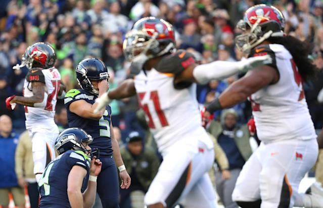 Though Jason Myers missed a game-winning field goal at the end of regulation, Seahawks coach Pete Carroll is still fully behind him. (Abbie Parr/Getty Images)