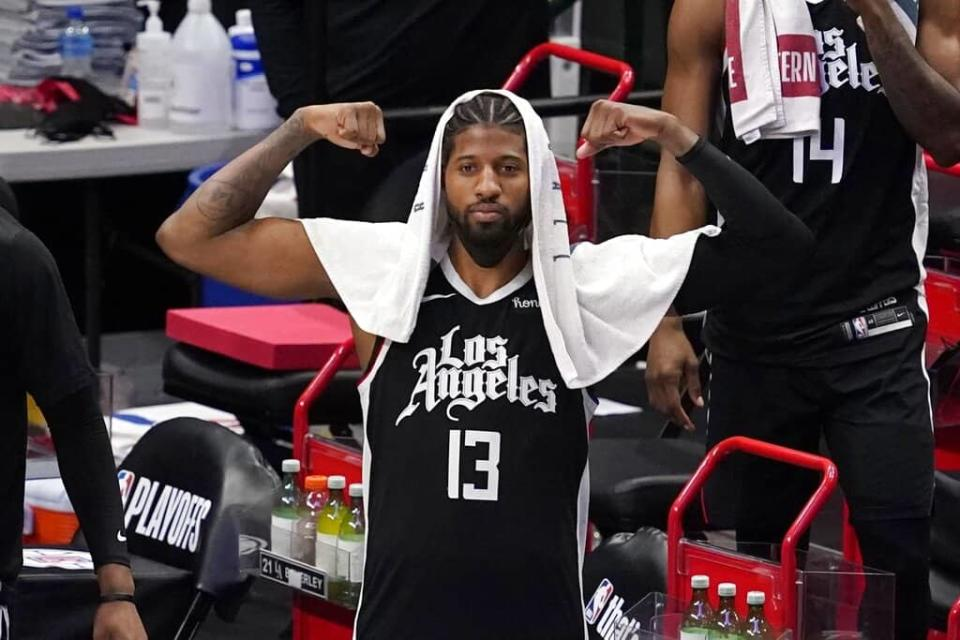 EMac gives his favorite NBA DFS picks for Yahoo, DraftKings + FanDuel daily fantasy basketball playoffs lineups, with Paul George | 6/28/21
