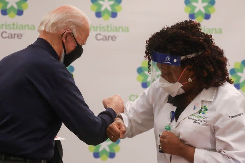 U.S. President-elect Joe Biden receives a dose of a COVID-19 vaccine at ChristianaCare Christiana Hospital in Newark