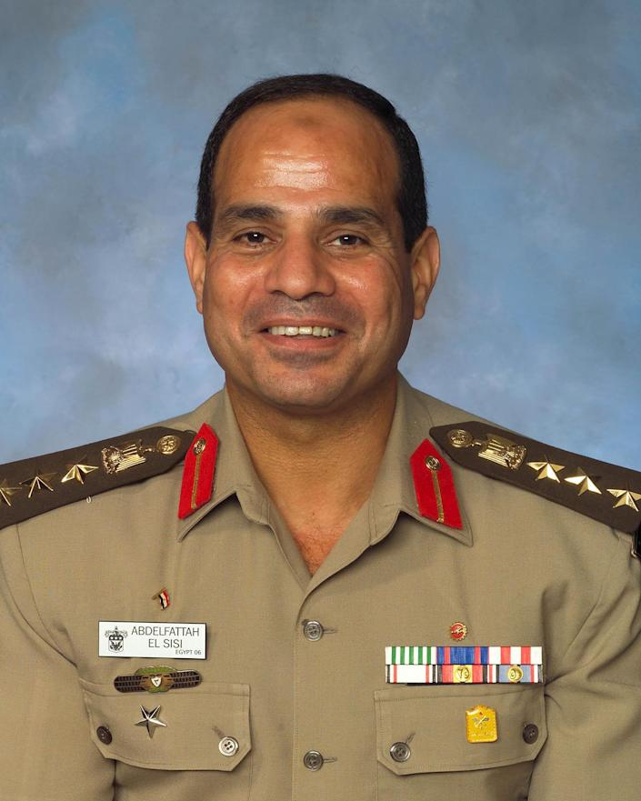 This undated 2006 photograph provided by the U.S. Army War College photo lab shows an official portrait taken of Egyptian Brig. Gen. Abdel-Fattah el-Sissi, during his time as an international fellow at the college in Carlisle, Pennsylvania. The head of Egypt's military, Abdel-Fattah el-Sissi, is riding on a wave of popular fervor that is almost certain to carry him to election as president. Unknown only two years ago, a broad sector of Egyptians now hail him as the nation's savior after he ousted the Islamists from power, and the state-backed personality cult around him is so eclipsing, it may be difficult to find a candidate to oppose him if he runs. Still, if he becomes president, he faces the tough job of ruling a deeply divided nation that has already turned against two leaders. (AP Photo/U.S. Army War College photo lab)
