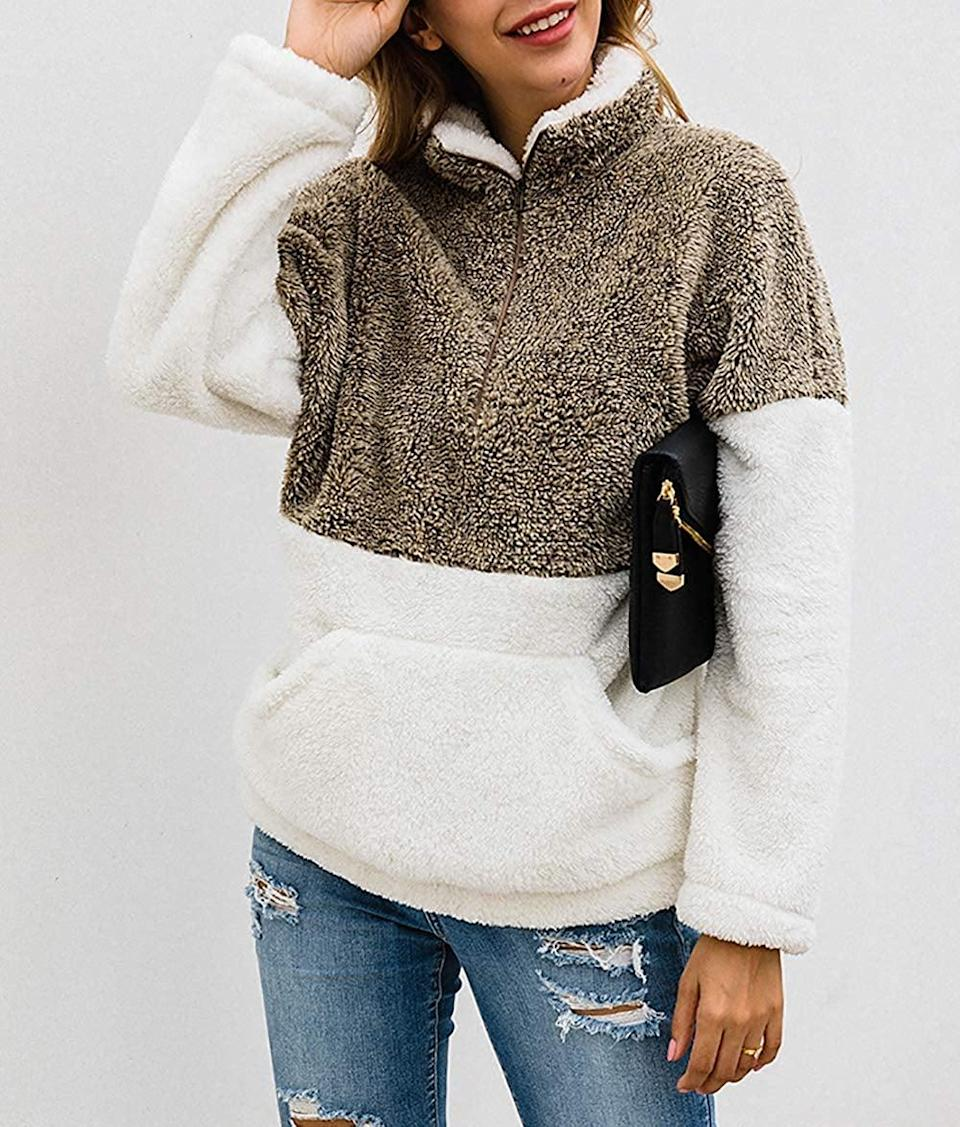 <p>This <span>BTFBM Sherpa Sweatshirt</span> ($33) is incredibly soft and cozy.</p>