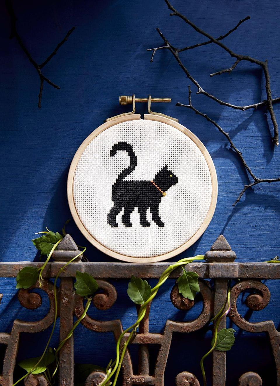"<p>Put little fingers to work with this simple cross-stitch pattern. It's primarily one color, so it will be easy for a child to make with a little supervision.</p><p><strong><a href=""https://www.countryliving.com/diy-crafts/a6380/cross-stitch/"" rel=""nofollow noopener"" target=""_blank"" data-ylk=""slk:Get the pattern."" class=""link rapid-noclick-resp"">Get the pattern.</a></strong></p>"