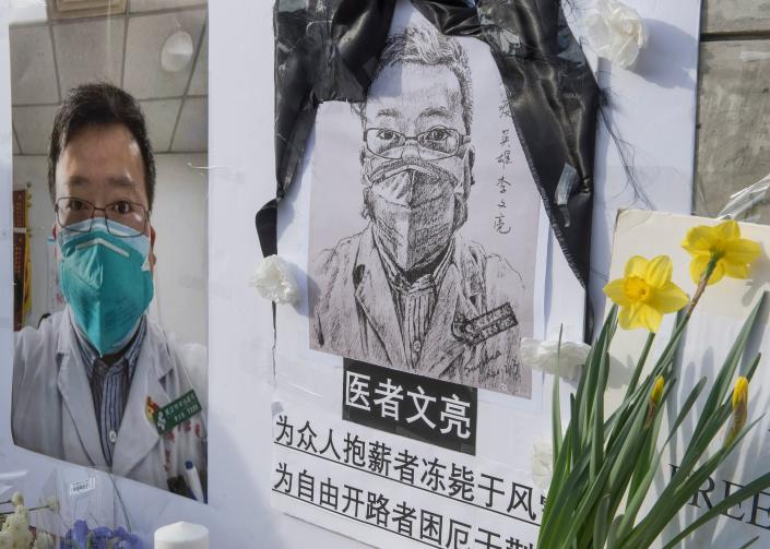 A memorial at UCLA for Dr. Li Wenliang, the whistleblower of the coronavirus that originated in Wuhan and caused the doctor's death in that city. (Mark Ralston/AFP via Getty Images)