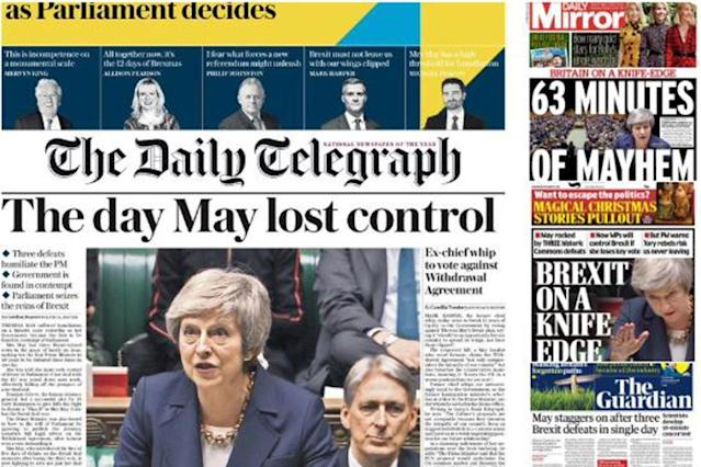 Brexit defeats: Theresa May faced a bruising set of front pages on Wednesday morning